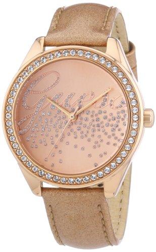 Guess Ladies Trend W0161L1 - Reloj analógico de cuarzo para mujer, correa de cuero color oro rosa