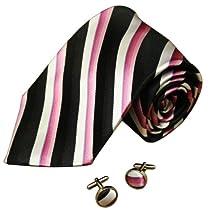 A1132 Black Stripes Online Goods Mens Pink White Buy For Working Silk Tie Cufflinks Set 2PT By Y&G