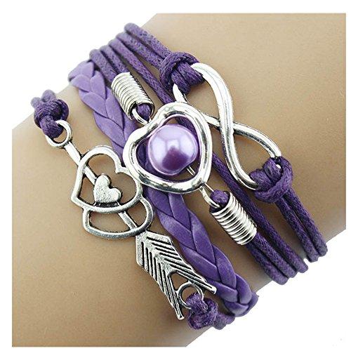 Bracelet, Doinshop Infinity Chain Cuff Jewelry Antique PU Leather Bracelet Charm (Purple)