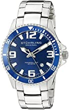 Stuhrling Original Men's 395.33U16 Aquadiver Regatta Champion Professional Diver Swiss Quartz Date Blue Bezel Watch