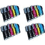 20 xl komp. Druckerpatronen für Brother LC985BK LC985C LC985M LC985Y 8 x schwarz 4xblau 4xrot 4xgelb