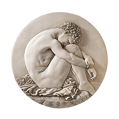 design-toscano-pd1711-young-man-beside-the-sea-natural-bonded-marble-wall-roundel