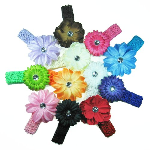12 Assorted 3-in-1 Large Flower Hair Clip Bows