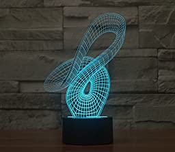 Curvy Hologram LED Night Light Lamp - Color Changing