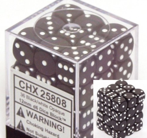 Black Opaque Dice 12mm D6 Set of 36