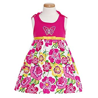 Girls 2t hot pink floral butterfly sequin spring dress rmla clothing