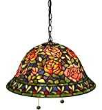 Tiffany-style Southern Belle Rose Hanging Lamp