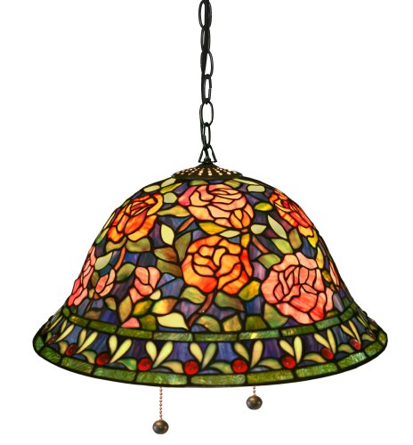 Tiffany-Style Southern Belle Rose Hanging Lamp front-86715