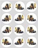 12 Yellow Digger design rice paper fairy / cup cake 40mm toppers pre cut decoration