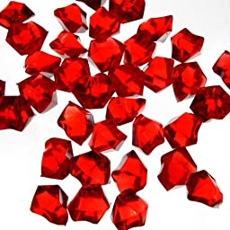 CYS Acrylic Rocks in Different Colors. Pack of 4 lbs (Red)