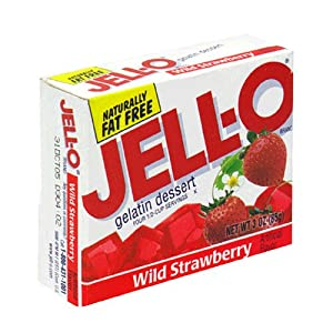 Jell-O Gelatin Dessert, Wild Strawberry, 3-Ounce Boxes (Pack of 24)