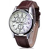 ABC® Men's Luxury Fashion Faux Leather Mens Blue Ray Glass Quartz Analog Watches