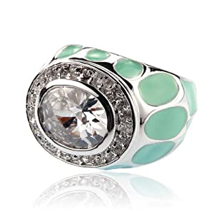 Turquoise Enamel, Silver Cubic Zircona Ring Size 7 Fashion Jewelry