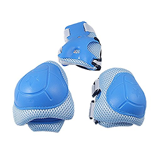 EUBUY Skating Cycling Adjustable Protective Gear Safety Pad Knee Elbow Wrist Support Pad Set For Kids Children Extreme Sports Guards Pads (light blue) - 1