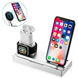 NEXGADGET 6 in 1 Aluminum Stand for Apple Watch/AirPods/iPad/Apple Pencil,Detachable Wireless Charger For iPhone X/8/8 Plus Samsung Galaxy S9/S8/S7/S6 Edge and All Qi-Enabled Devices,Silver (Color: Silver)
