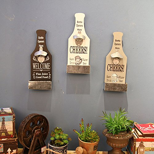 Creative American Country Wall Bottle Opener Vintage Retro Beer Shaped Wall Mounted Bottle Openers Cap Catcher Home Decor (white) 5
