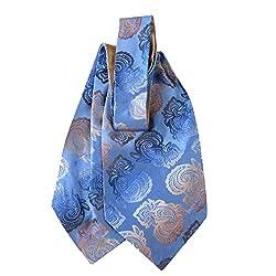 ASC-11040 - Mens Silk Ascot and Pocket Square - Blue - Taupe