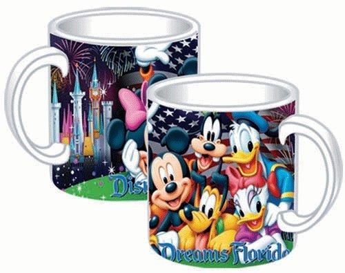 Disney Mickey Mouse Donald Duck Daisy Duck Goofy Pluto Firework 14Oz. Ceramic Mug
