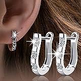 Elegant New Fashion Women 925 Sterling Silver Jewelry White Gemstone Stud Hoop Earrings