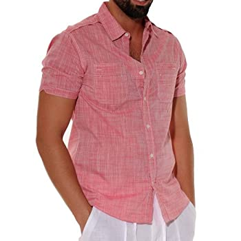 Two pockets short sleeve red cotton shirt