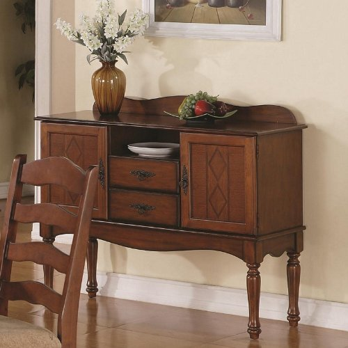 Cheap Server Sideboard with Diamond Pattern in Golden Brown Finish (VF_103145)