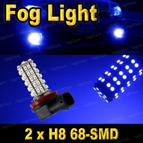 2 Pcs Ultra Blue H8 68-Smd Led Headlight Bulbs For Driving Fog Light / Day Time Running Light Drl