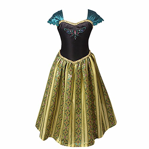 iEFiEL Vestido de Princesa Frozen de Disfraces de Noche para Niñas con Flores Estampados Bordado Negro y Dorado 5-6 años