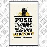 VISUAL VITAMINS Motivationsposter VFI001 Push Yourself Sport Bodybuilding Fitness Poster Zitate Hochwertige Qualität Motivation Poster 91.4 x 61 cm