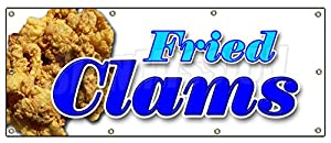 "36""x96"" FRIED CLAMS BANNER SIGN fry clam seafood fish sea food littleneck signs"