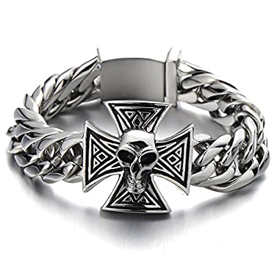 Mens Large Skull Cross Bracelet Stainless Steel Curb Chain Biker Gothic Silver Color Polished