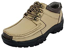 LookaMartin Mens Beige Leather Trekking and Hiking Shoes (9 UK)