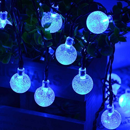 Qedertek Solar String Lights Outdoor,Bubble Globe Solar Lights 20foot 30 LED String Light Crystal Ball Lighting for Fairy Garden,Patio,Wedding,Party and Holiday Decorations (Blue) (Color: Blue)