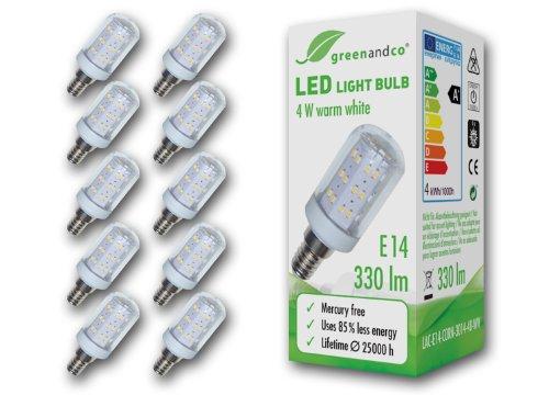 greenandco LED Lampe ersetzt 40 W E14 Birne, 4 W, 330 lm, 3000 K, warmweiß 10x LAC-E14-CORN-3014-48-WW