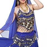 GGG 衣装ダンスウェア ダンススパンコールビーズベルズペッパーズベリーセクシーなブラトップ(ブルー)