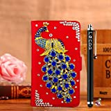 Locaa(TM) HTC Desire 510 HTC510 3D Bling Peacock Case + Phone stylus + Anti-dust ear plug Deluxe Luxury Crystal Pearl Diamond Rhinestone eye-catching Beautiful Leather Retro Support bumper Cover Card Holder Wallet Cases [Peacock Series] Blue case - Darkb