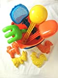 Round Beach Bucket 9 pieces Set - Sand Head Design (Include 1 scoops, 1 rake, 4 moulds and more (ideal for Beach or Sand Pit)