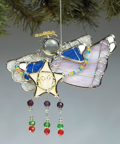 Stained Glass Angel Ornament With Star
