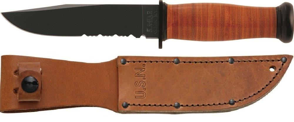 Ka-Bar Mark 1 Serrated Leather Handle and Sheath