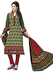 Salwar Studio Green & Red Cotton Dress Material With Dupatta RangResham-1803