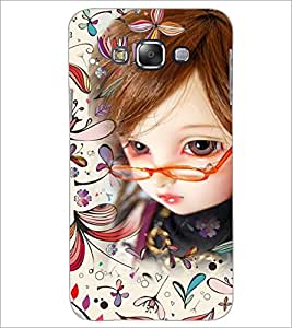 PrintDhaba Girl with Spectacles D-4161 Back Case Cover for SAMSUNG GALAXY E7 (Multi-Coloured)