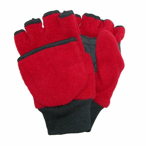 CTM® Kids and Teens Fleece Convertible Fingerless Winter Mitten / Gloves, Medium/Large, Red (Kids Convertible Gloves compare prices)