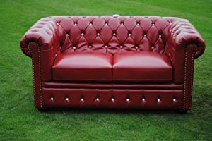 Red Bycast Leather Chesterfield Diamante 2 Seater Setee sofa from Chesterfield