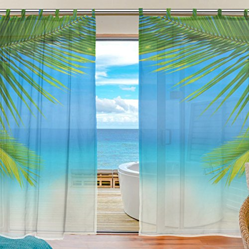 MRMIAN Tulle Curtain Voile Curtain Beautiful Scenery Of The Beach Sheer Panel Drape Door fender valance Window Curtain Panels for Bedroom Living Room 2 Panels