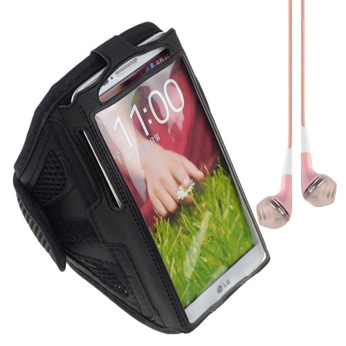 Black Sport Band / Workout Armband Adjustable Fabric Strap For Lg Nexus 5 Lg Nexus 4 Lg G2 / Amazon Fire Phone + Vangoddy Headphone With Mic , Pink