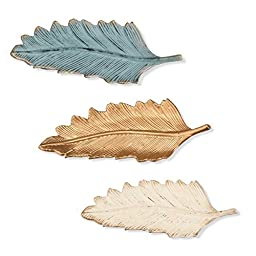 Foreside Set of Three Feather Trinket Trays