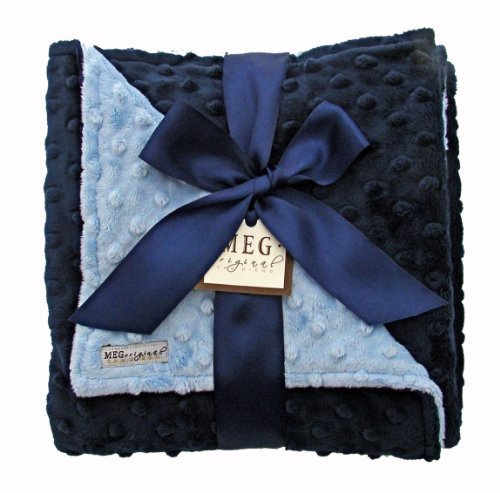 MEG Original Navy Blue & Baby Blue Minky Dot Baby Blanket