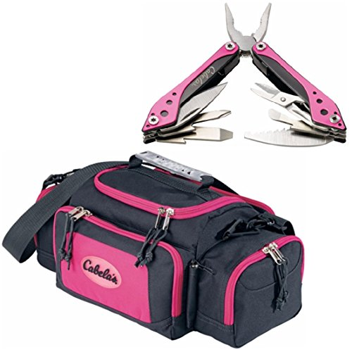 Bundle of Fishing Gear for Women Includes Pink Cabela's Tackle Bag and Pink Multitool. Durable Ladies Fishing Gear Utility Bag and Fishing Multitool (Cabelas Fishing compare prices)
