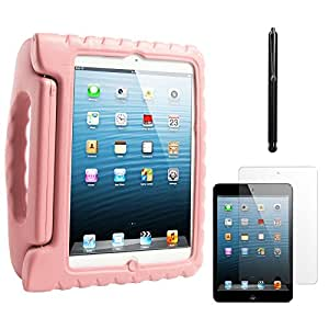 DMG Shock Proof Child Safe Styrofoam Protective Back Cover Case With Handle Stand for Apple iPad Mini (Pink) + Stylus + Matte Screen