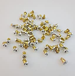 Fly Shop Earring Backs (5 Pairs) Ear Nuts (Gold Silver Bullet)