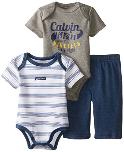 Calvin Klein Baby-Boys Newborn Gray Body and Stripes Body with Pants